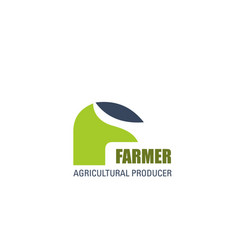 farmer agriculture producer letter f icon vector image