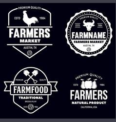Farmers market logos templates objects set vector