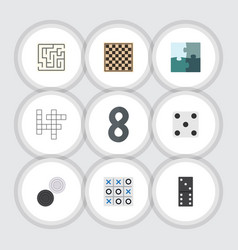 Flat icon games set of guess xo chess table and vector