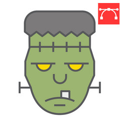Frankenstein color line icon halloween and scary vector