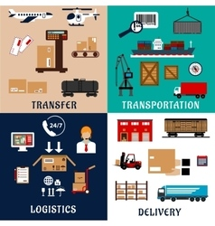 Freight transportation and logistics flat icons vector