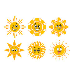 funny cartoon suns yellow faces sun icons with vector image