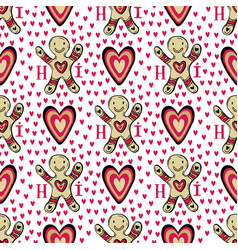 Gingerbread man background with hearts sweets vector