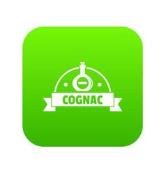 glass cognac icon green vector image