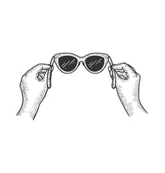 glasses in hands sketch engraving vector image