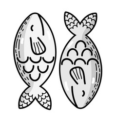 Grayscale delicious and fresh fish food with vector