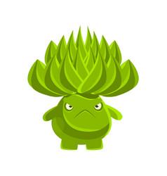 green cute cactus with sad face cartoon emotions vector image