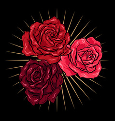 Hand drawn red roses with gold rays vector