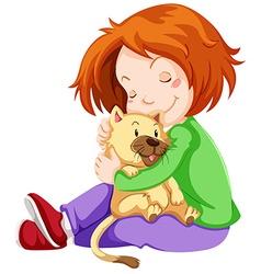 Happy girl hugging pet cat vector image