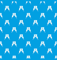 hat with ear flaps pattern seamless blue vector image