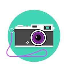 icon vintage photo camera black and white vector image
