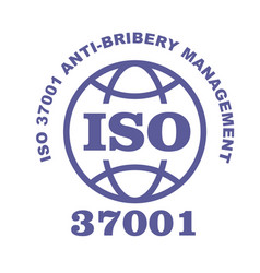 Iso 37001 stamp sign - anti-bribery management vector