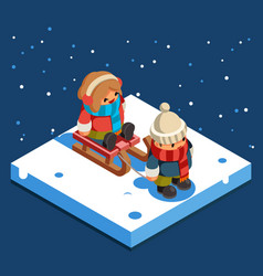 kids isometric boy sledding girl sleigh winter vector image