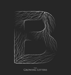 Letter b of branch or cracked alphabet b vector