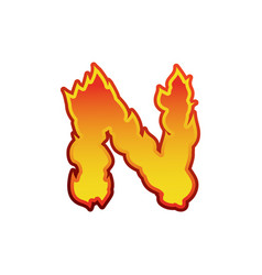Letter n fire flames font lettering tattoo vector