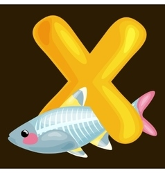 letter X with animal x-rayfish for kids abc vector image vector image