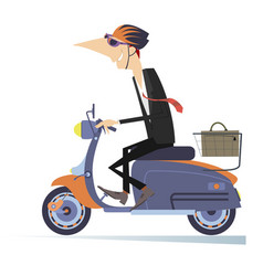 man goes to work on the scooter isolated vector image