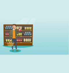 Man holding shopping basket and bottle of sauce vector