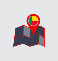 Map pin benin is isolated state flag vector