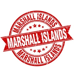 Marshall Islands red round grunge vintage ribbon vector