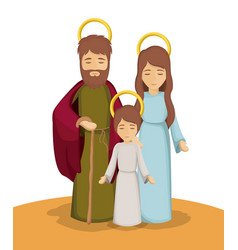 mary joseph and jesus cartoon design vector image