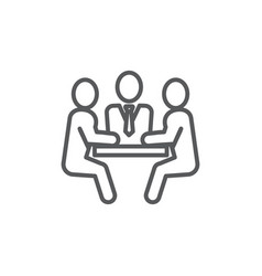 Meeting line icon on white background vector