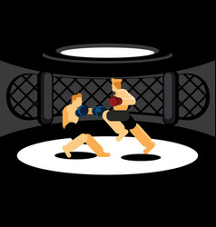 Mixed martial art fighters fighting in black cage vector