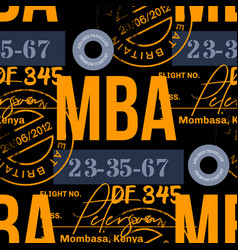 mombassa airport tag seamless pattern vector image