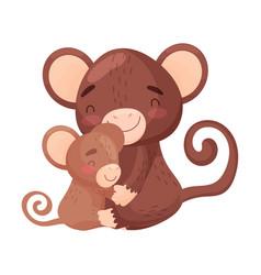 Monkey mom with baon white vector