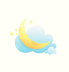 moon stars and clouds cute and sweet badesign vector image