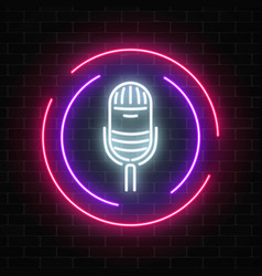 Neon sign with microphone in round frame vector