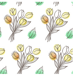 pattern with leaves and tulip flowers vector image