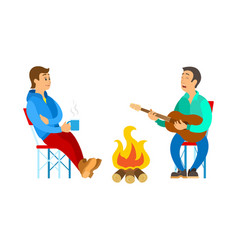People relaxing outdoor men near bonfire vector