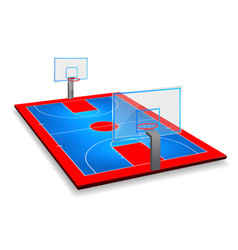 perspective of basketball court field with shield vector image