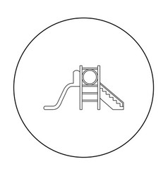 Playground slide icon in outline style isolated on vector