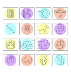 Pregnancy and childbirth line icons vector