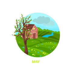 rainy may day with little house meadow river and vector image
