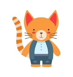 Red Cat In White Top And Vest Cute Toy Baby Animal vector