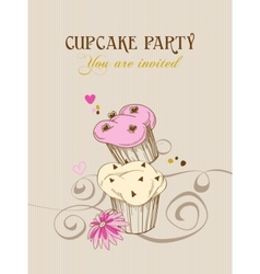Retro cupcake party invitation vector