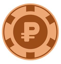 Rouble copper casino chip vector