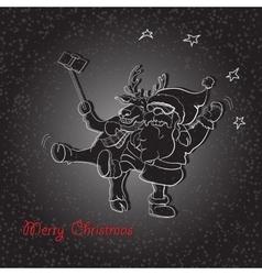 Santa Claus and Deer make a Christmas Photo vector image