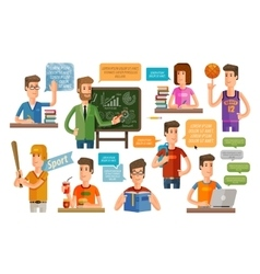 school college flat icons set vector image