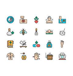 set alternative medicine flat color icons vector image
