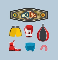 Set Boxing Icons Boxing equipment vector