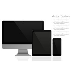 Set of realistic computer monitors tablets and vector