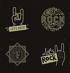 Set of rock and roll badges vector
