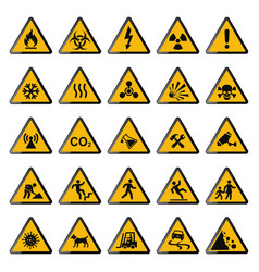 set warning signs triangle yellow warnings vector image