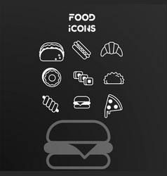 set white linear icons on theme food vector image