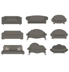 Sets of sofa furniture for an interior vector