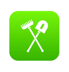 shovel and rake icon digital green vector image
